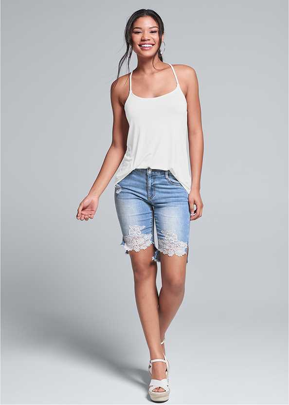 Lace Trim Bermuda Shorts,Back Detail Top,Embellished Wedges,Coin Drop Earrings,Raffia Detail Bag