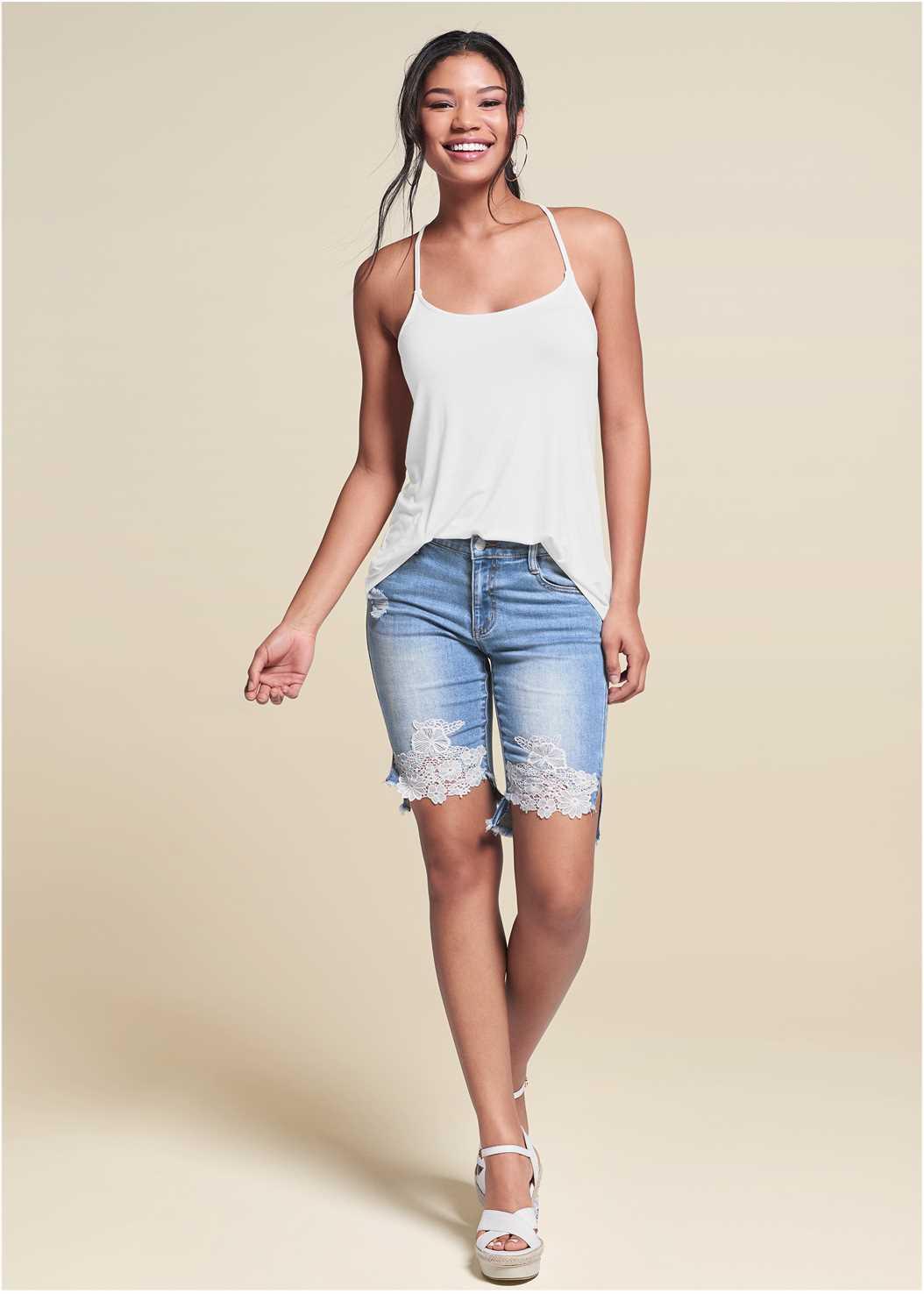 Lace Trim Bermuda Shorts,Back Detail Top,Embellished Wedges,Coin Drop Earrings,Raffia Detail Bag