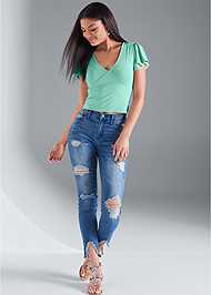 Front View Flounce Sleeve Top