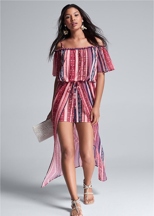 COLD SHOULDER PRINT ROMPER,EVERYDAY YOU STRAPLESS BRA,SHELL DETAIL CLUTCH