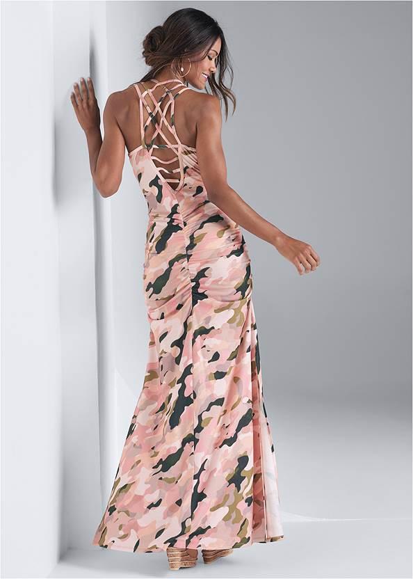 Full back view Camo Maxi Dress