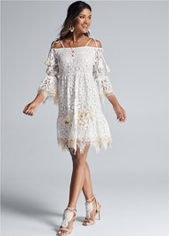 Full front view Lace Off The Shoulder Dress