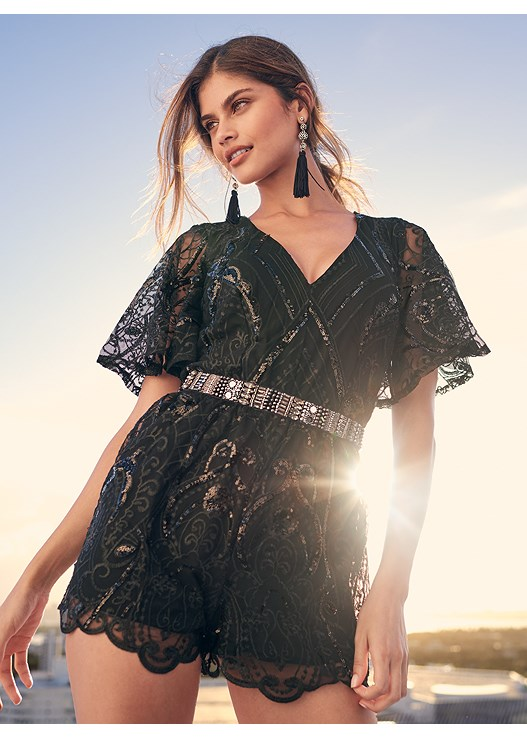 SEQUIN DETAIL ROMPER,KISSABLE STRAPPY PUSH UP,HIGH HEEL STRAPPY SANDALS,BAUBLE HOOP EARRINGS