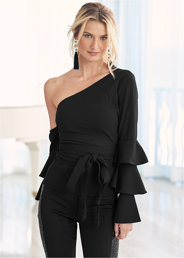 Ruffle Off The Shoulder Top,High Heel Strappy Sandals,Jewel Fringe Earrings