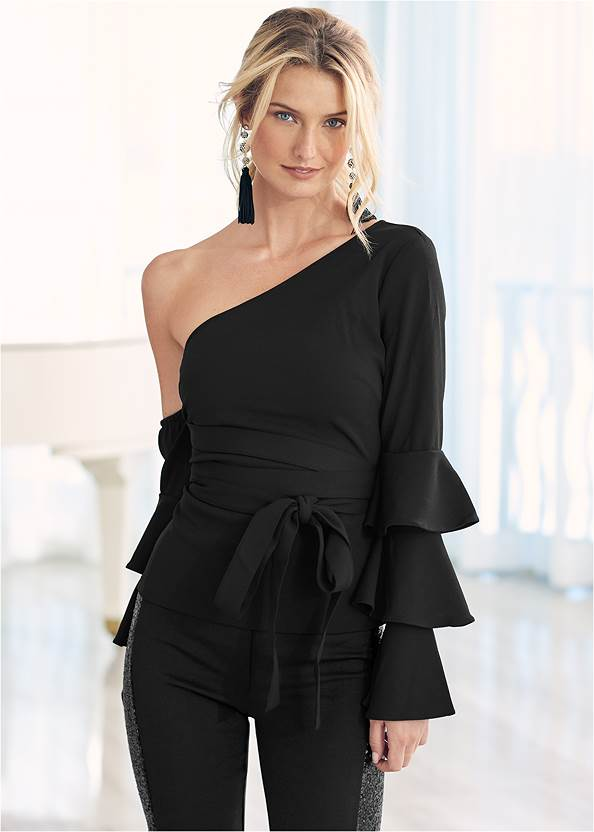 Ruffle Off-The-Shoulder Top,High Heel Strappy Sandals