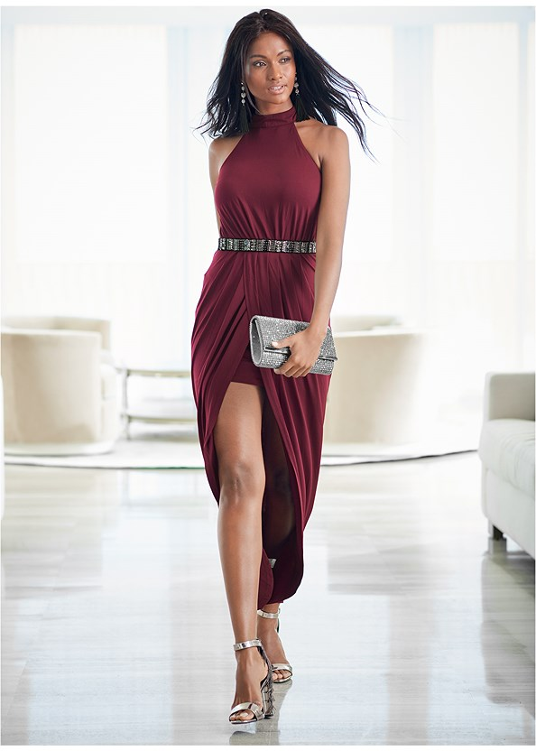 Long Drape Dress,Strap Solutions,High Heel Strappy Sandals,Lucite Detail Heels,Rhinestone Clutch