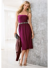 Front View Velvet Pleated Dress