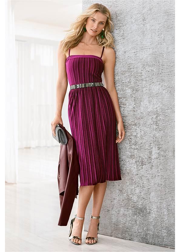 Velvet Pleated Dress,Rhinestone Tie Detail Belt,Rhinestone Clutch