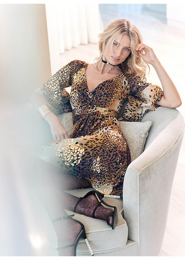 Leopard Print Dress,Push Up Bra,Beaded Tassel Earrings