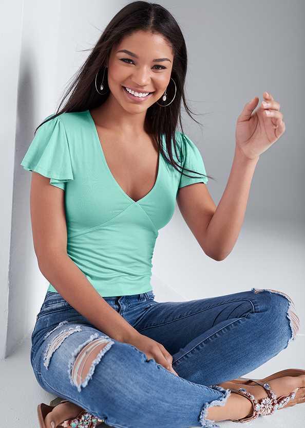 Flounce Sleeve Top,Triangle Hem Jeans