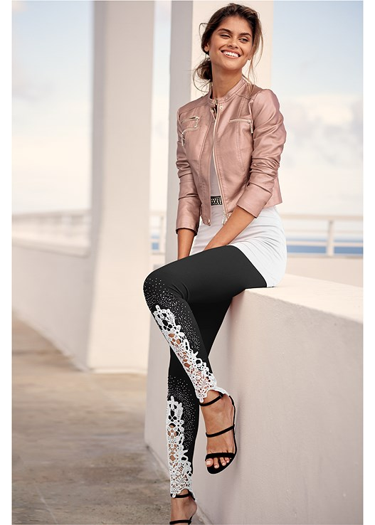 LACE DETAIL LEGGINGS,LONG AND LEAN TEE,FAUX LEATHER LACE UP JACKET,EMBELLISHED MULES