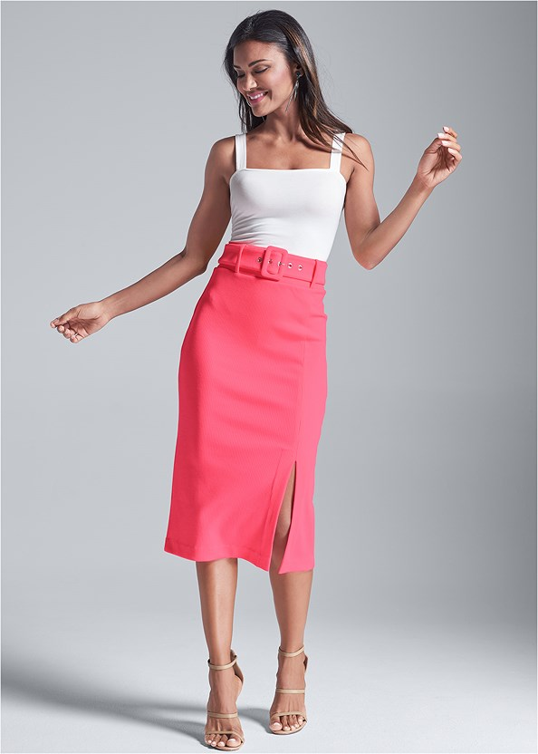 Belted Ribbed Pencil Skirt,Square Neck Bodysuit,Push Up Bra Buy 2 For $40,High Heel Strappy Sandals,Hoop Detail Earrings