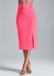 Alternate View Belted Ribbed Pencil Skirt