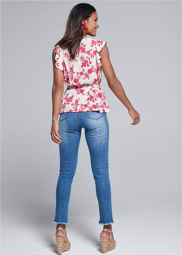 Full back view Plunging Floral Top