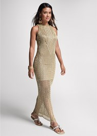 Front View Metallic Crochet Dress
