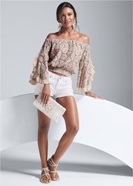 Full front view Off The Shoulder Lace Top