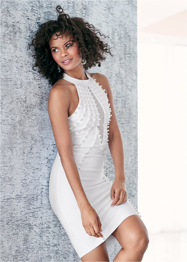 Pearl Detail Bandage Dress