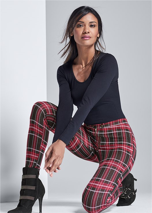 PLAID LEGGINGS,EVERYDAY YOU LACE CAMI BRA,BUCKLE DETAIL BOOTIES