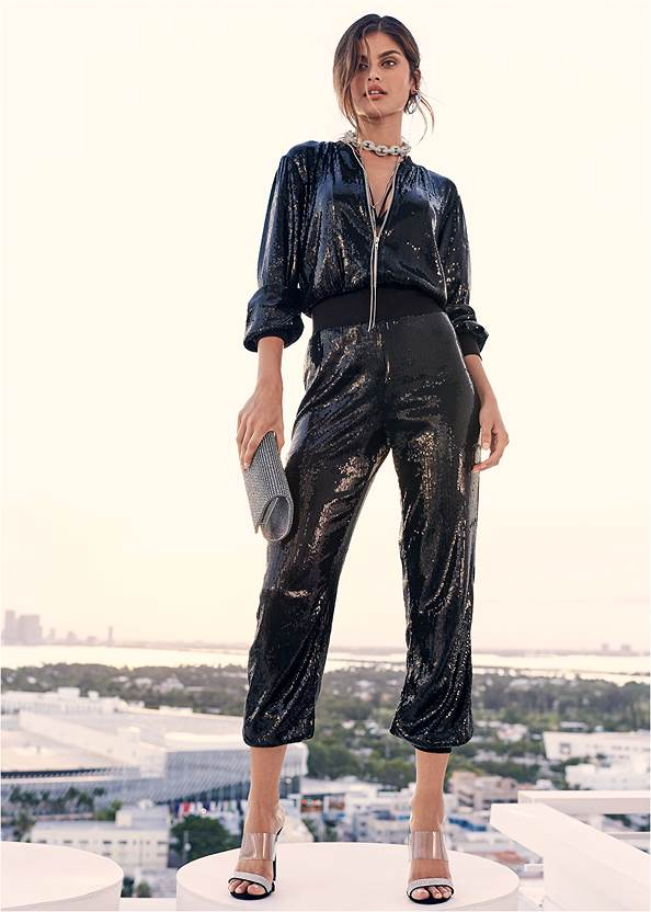 Sequin Jogger Jumpsuit,High Heel Strappy Sandals,Tiger Detail Earrings,Rhinestone Clutch
