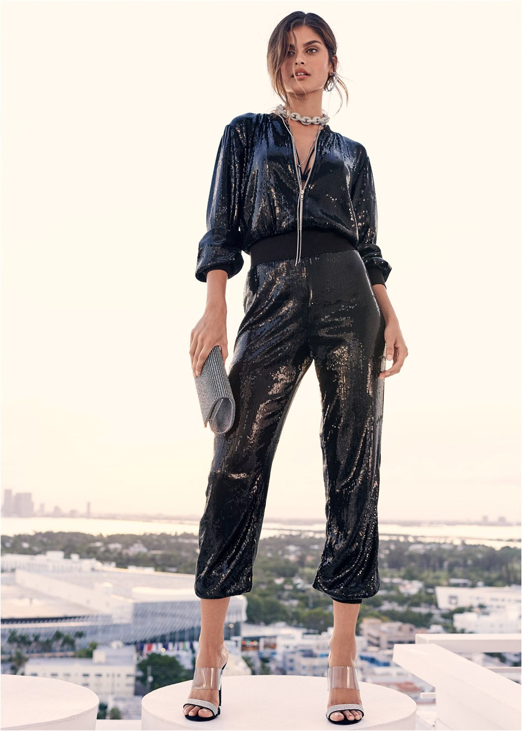 Sequin Jogger Jumpsuit,Chain Link Necklace,Rhinestone Clutch