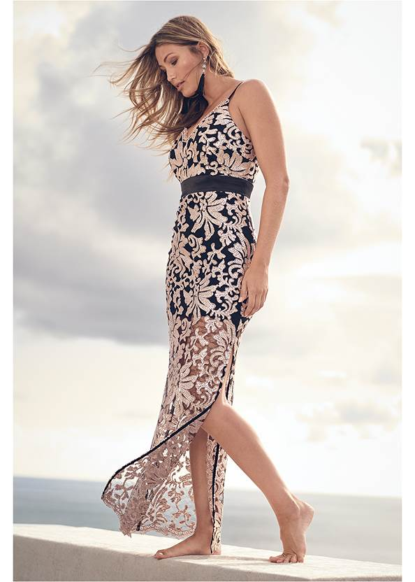 Lace Long Dress,High Heel Strappy Sandals