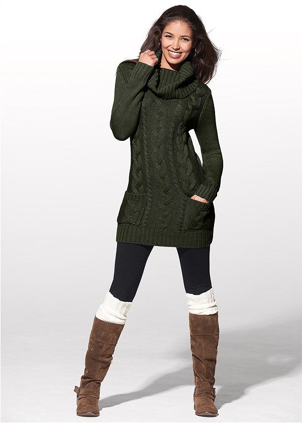 Cozy Sweater Dress,Unlined Geo Lace Bra,Over The Knee Stretch Boots,Block Heel Boots,Cut Out Detail Boots