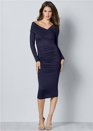 Front View Drape Detail Bodycon Dress