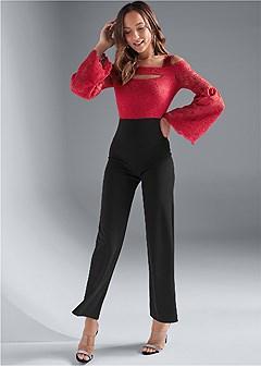 lace cold shoulder jumpsuit