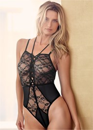 Front View Strappy Sheer Lace Bodysuit