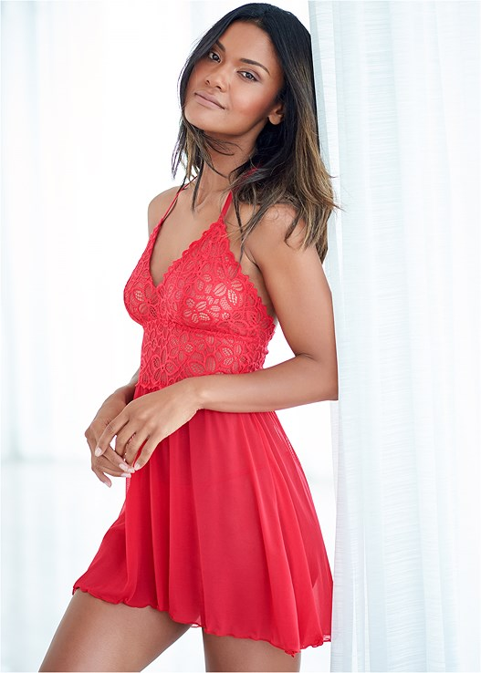 LACE AND MESH BABYDOLL,STEVE MADDEN NECTUR