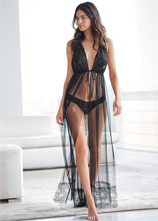 MESH OPEN FRONT GOWN,LACE THONG 3 FOR $19,EMBELLISHED MULES