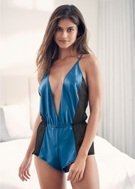 Cropped front view Satin Deep V Romper