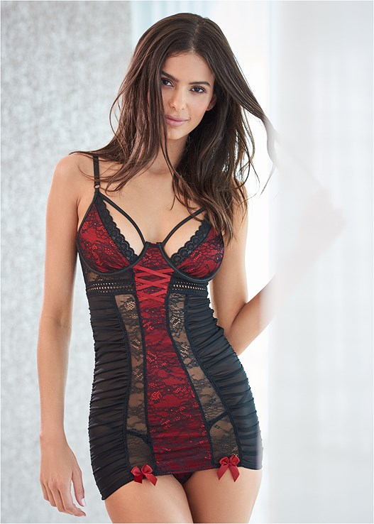 STRAPPY LACE MESH CHEMISE,MESH THIGH HIGHS WITH LACE,STEVE MADDEN STARLET