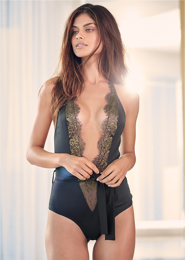 Lace And Satin Bodysuit,Studded Strappy Heels