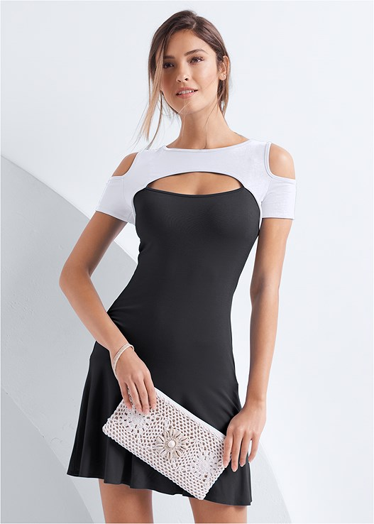 COLD SHOULDER CASUAL DRESS,SMOOTH LONGLINE PUSH UP BRA,SHELL DETAIL CLUTCH