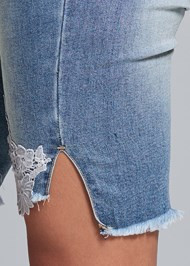Alternate View Lace Trim Bermuda Shorts
