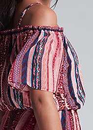 Detail back view Cold Shoulder Print Romper