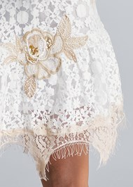 Detail front view Lace Off The Shoulder Dress