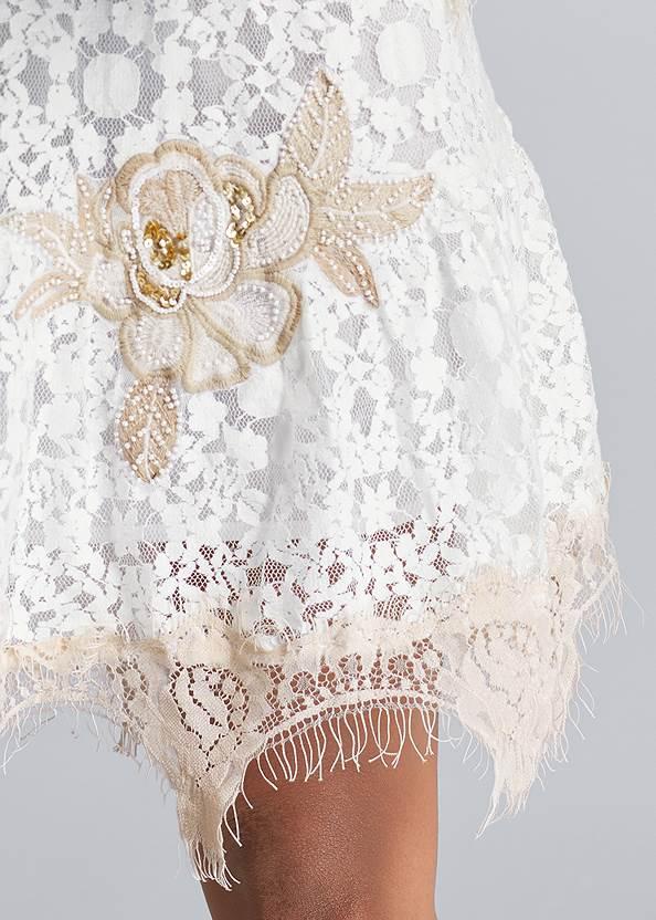 Detail front view Lace Off The Shoulder Dress