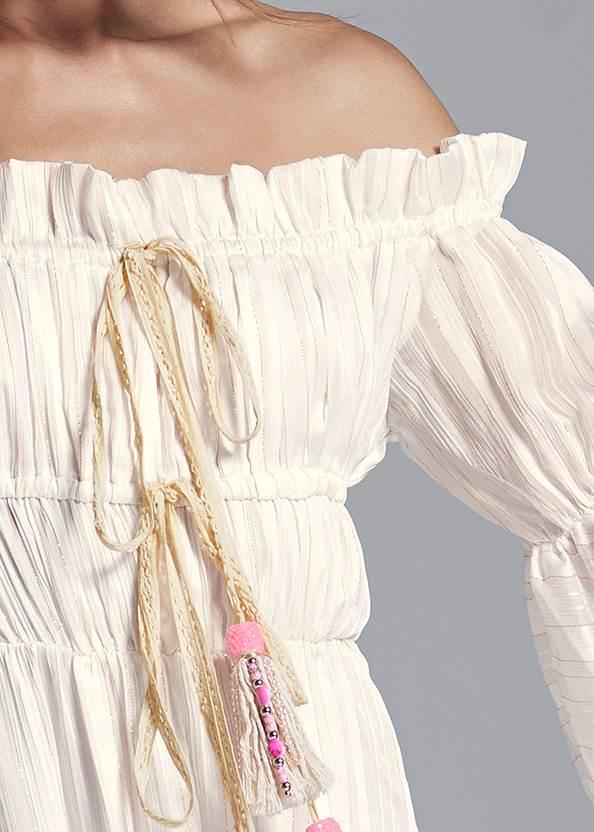 Detail front view Off Shoulder Maxi Dress