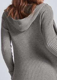 Detail back view Ribbed Hooded Duster