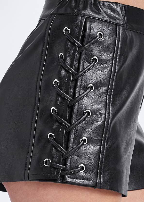 Alternate View Faux Leather Lace Up Shorts