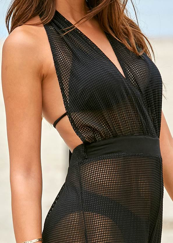 Alternate View Jersey Fishnet Cover-Up Jumpsuit