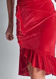 Detail front view Velvet Ruffle Midi Dress