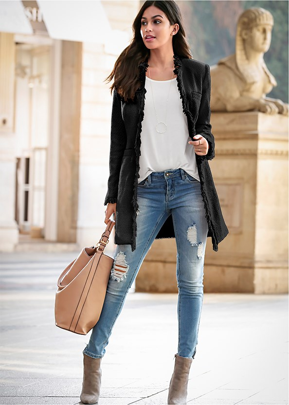 Open Front Tweed Fringe Jacket,Basic Cami Two Pack,Ripped Bum Lifter Jeans,Faux Suede Pointy Booties,Faux Feather Handbag