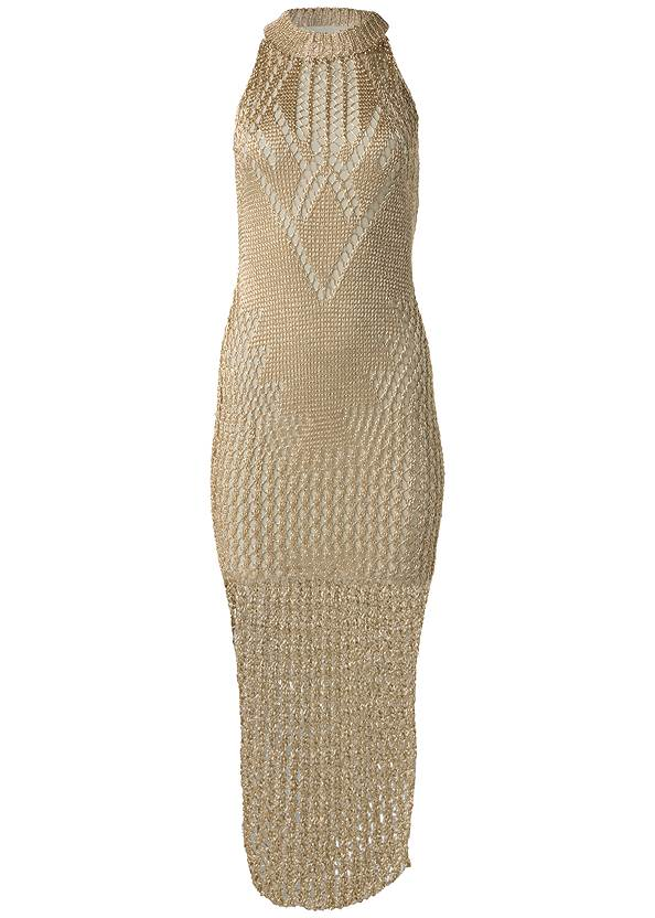 Alternate View Metallic Crochet Dress
