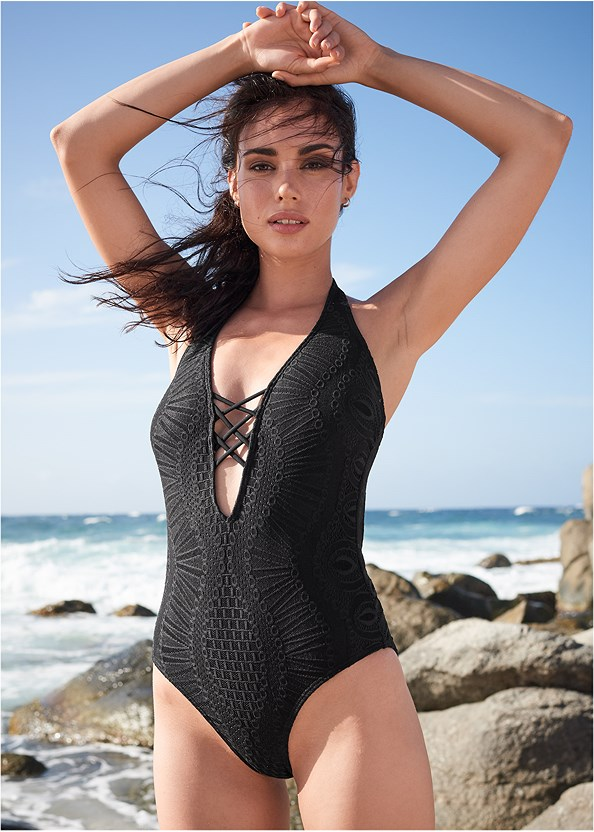 Lace Strappy One-Piece,Off The Shoulder Cover-Up Top