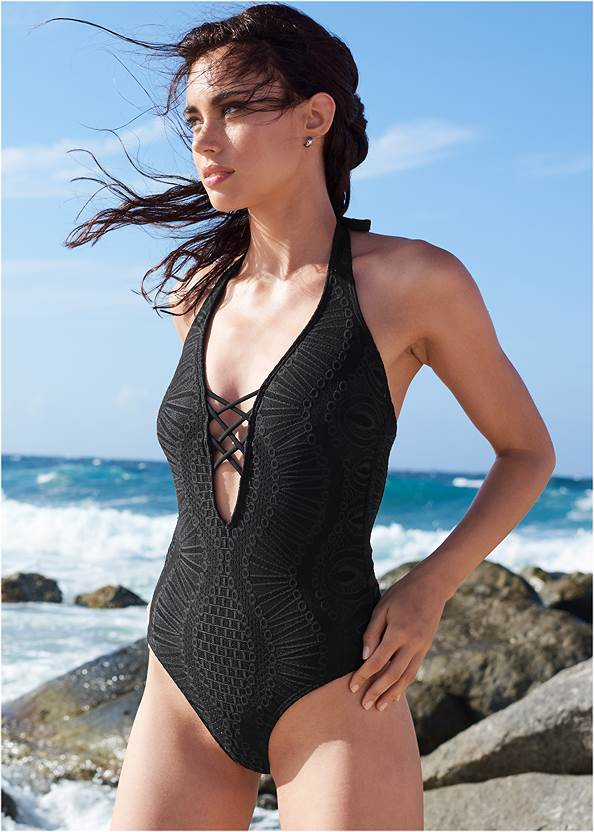 Alternate View Lace Strappy One-Piece