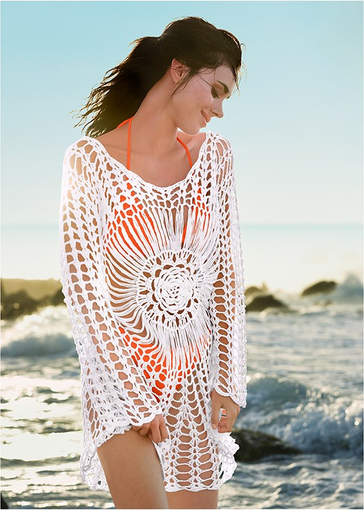 CROCHET DETAIL COVER-UP,RING TRIANGLE TOP,MID RISE BOTTOM