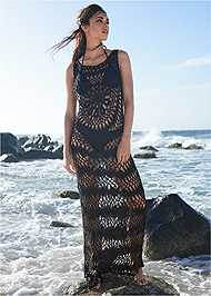 Front View Crochet Maxi Dress Cover-Up